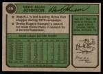 1974 Topps #45  Davey Johnson  Back Thumbnail