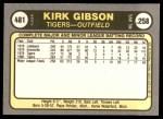 1981 Fleer #481  Kirk Gibson  Back Thumbnail