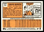 2012 Topps Heritage #254  Carlos Quentin  Back Thumbnail