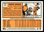 2012 Topps Heritage #205  Robert Andino  Back Thumbnail