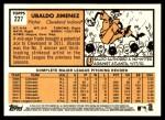 2012 Topps Heritage #227  Ubaldo Jimenez  Back Thumbnail