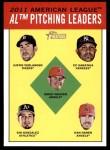 2012 Topps Heritage #8   -  Justin Verlander / C.C. Sabathia / Jered Weaver / Gio Gonzalez / Dan Haren NL Strikeout Leaders Front Thumbnail