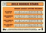 2012 Topps Heritage #333   -  Joe Benson / Liam Hendriks / Chris Parmelee / Kyle Waldrop Rookies Back Thumbnail