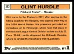 2012 Topps Heritage #393  Clint Hurdle  Back Thumbnail