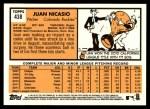 2012 Topps Heritage #438  Juan Nicasio  Back Thumbnail