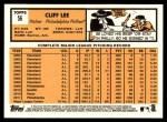 2012 Topps Heritage #56  Cliff Lee  Back Thumbnail