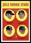 2012 Topps Heritage #191   -  Liam Hendriks / Alex Liddi / Matt Moore / Chris Schwinden Rookies Front Thumbnail