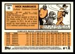 2012 Topps Heritage #65  Nick Markakis  Back Thumbnail