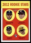 2012 Topps Heritage #299   -  Steve Delabar / Tom Milone / Luis Marte / Jared Hughes Rookies Front Thumbnail