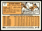 2012 Topps Heritage #47  Jayson Werth  Back Thumbnail