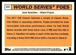 2012 Topps Heritage #331   -  Josh Hamilton / Albert Pujols World Series Foes Back Thumbnail