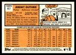 2012 Topps Heritage #417  Jeremy Guthrie  Back Thumbnail