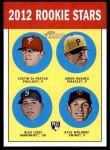 2012 Topps Heritage #274   -  Justin De Fratus / Jared Hughes / Alex Liddi / Kyle Waldrop  Rookies Front Thumbnail