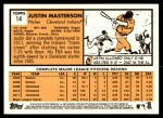 2012 Topps Heritage #14  Justin Masterson  Back Thumbnail
