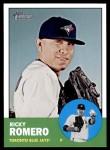 2012 Topps Heritage #220  Ricky Romero  Front Thumbnail