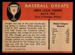 1961 Fleer #82  Hippo Vaughn  Back Thumbnail