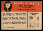 1961 Fleer #17  Earle Combs  Back Thumbnail