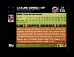 2007 Topps Update #155  Carlos Gomez  Back Thumbnail