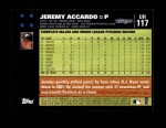 2007 Topps Update #117  Jeremy Accardo  Back Thumbnail