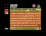 2007 Topps Update #225  Chase Utley  Back Thumbnail