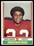 1974 Topps #156  Brig Owens  Front Thumbnail