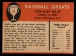 1961 Fleer #35  Goose Goslin  Back Thumbnail