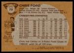 1981 Topps #73 E Chris Ford  Back Thumbnail