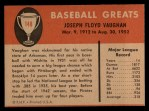 1961 Fleer #148  Arky Vaughan  Back Thumbnail