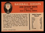 1961 Fleer #64  Johnny Mostil  Back Thumbnail