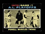 1971 Topps #195   -  Boog Powell / Frank Robinson / George Mitterwald 1970 AL Playoffs - Game 1 - Powell Muscles Twins Front Thumbnail
