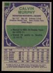 1975 Topps #180  Calvin Murphy  Back Thumbnail