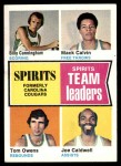 1974 Topps #221   -  Joe Caldwell / Tom Owens / Mack Calvin / Billy Cunningham Spirits Team Leaders Front Thumbnail