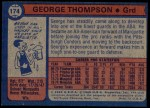 1974 Topps #174  George Thompson  Back Thumbnail