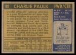 1971 Topps #102  Charlie Paulk  Back Thumbnail
