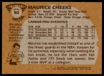 1981 Topps #90 E Maurice Cheeks  Back Thumbnail