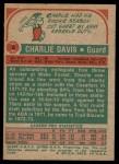 1973 Topps #8  Charles Davis  Back Thumbnail