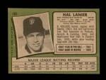 1971 Topps #181  Hal Lanier  Back Thumbnail