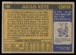 1971 Topps #186  Julius Keye  Back Thumbnail
