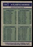 1975 Topps #116   -  John Drew / Dean Meminger / Lou Hudson Hawks Leaders Back Thumbnail