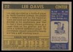 1971 Topps #212  Lee Davis  Back Thumbnail