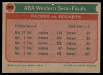 1973 Topps #202   ABA West Semi-Finals Back Thumbnail