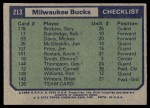1975 Topps #213   Milwaukee Bucks Back Thumbnail