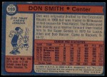 1974 Topps #169  Don Smith  Back Thumbnail
