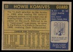 1971 Topps #53  Howie Komives   Back Thumbnail