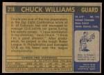 1971 Topps #218  Chuck Williams  Back Thumbnail