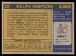 1971 Topps #232  Ralph Simpson  Back Thumbnail