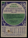 1975 Topps #318  Dave Robisch  Back Thumbnail