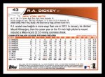 2013 Topps #43  R.A. Dickey   Back Thumbnail