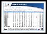 2013 Topps #115  Tim Hudson   Back Thumbnail