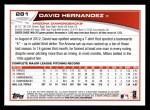 2013 Topps #281  David Hernandez   Back Thumbnail